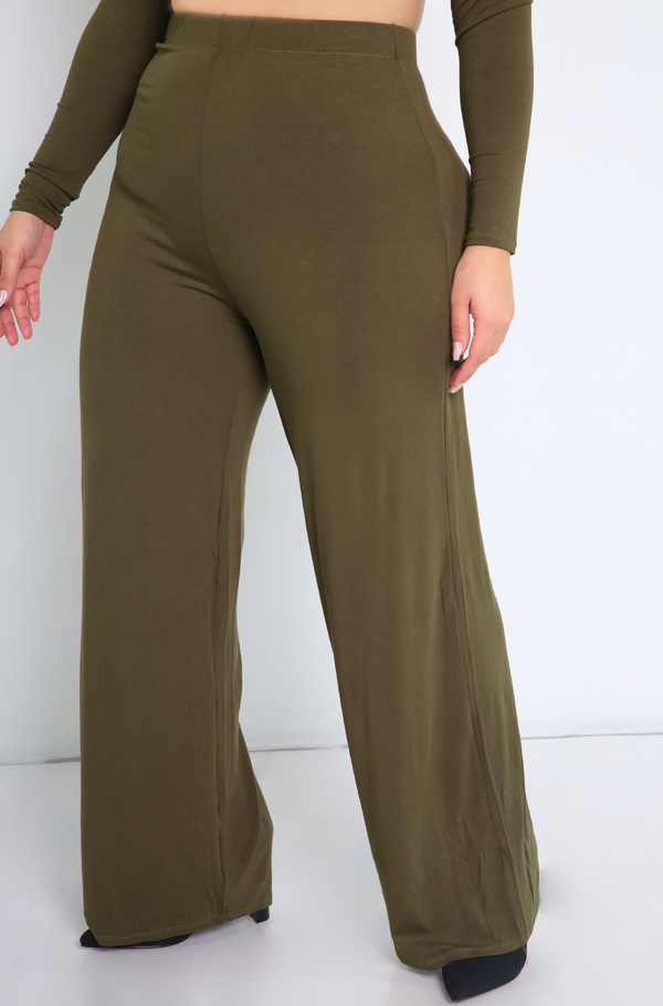 Olive Wide Leg Pants Plus Sizes