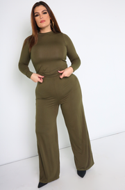 Olive Crew Neck Long Sleeve Top Plus Sizes