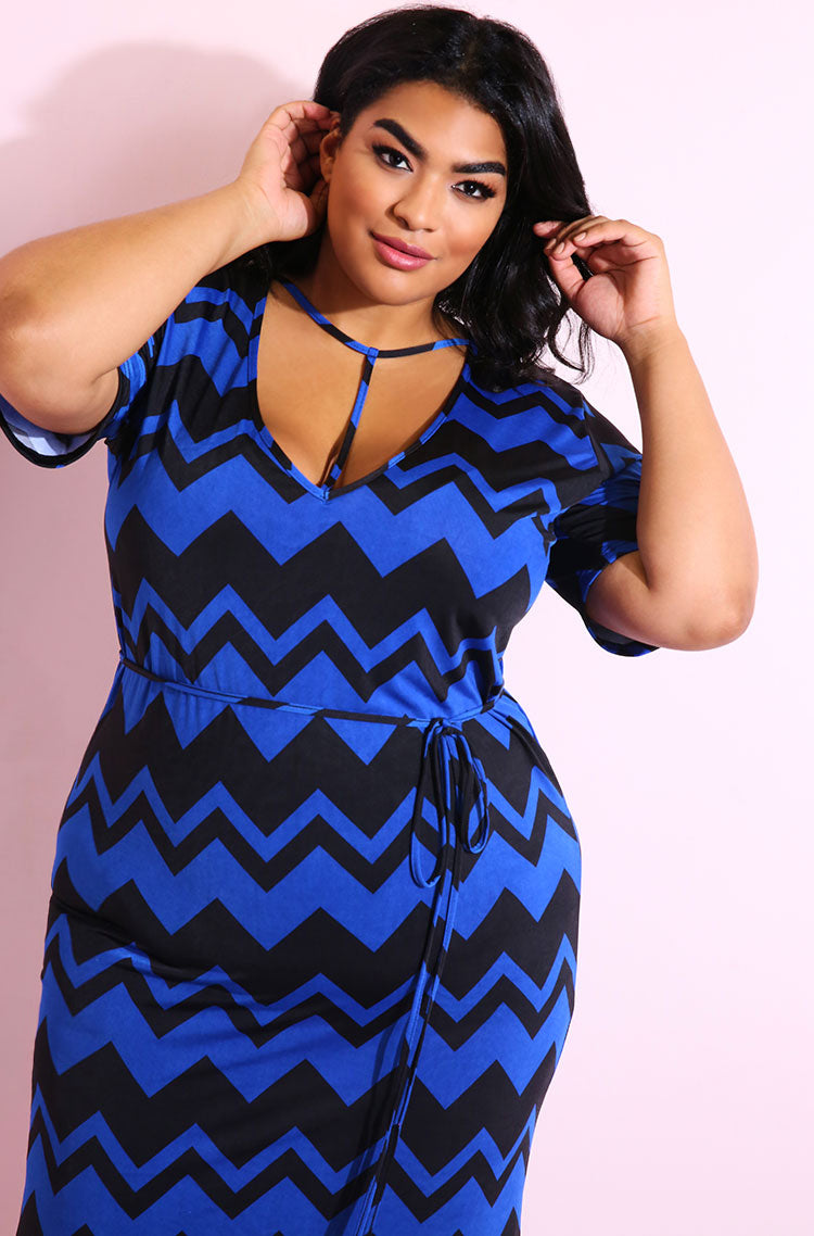 Blue Chevron Print Bodycon Mid Calf Dress plus sizes