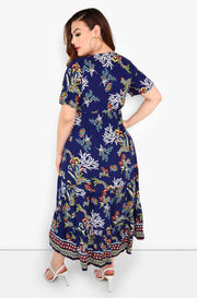 Blue Floral A-Line Midi Dress Plus Sizes