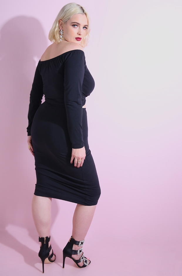 Black Over The Shoulder Bodycon Cut-out Midi Dress plus sizes.
