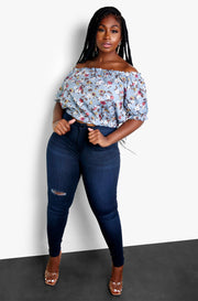Gray Over The Shoulder Floral Chiffon Crop Top Plus Sizes