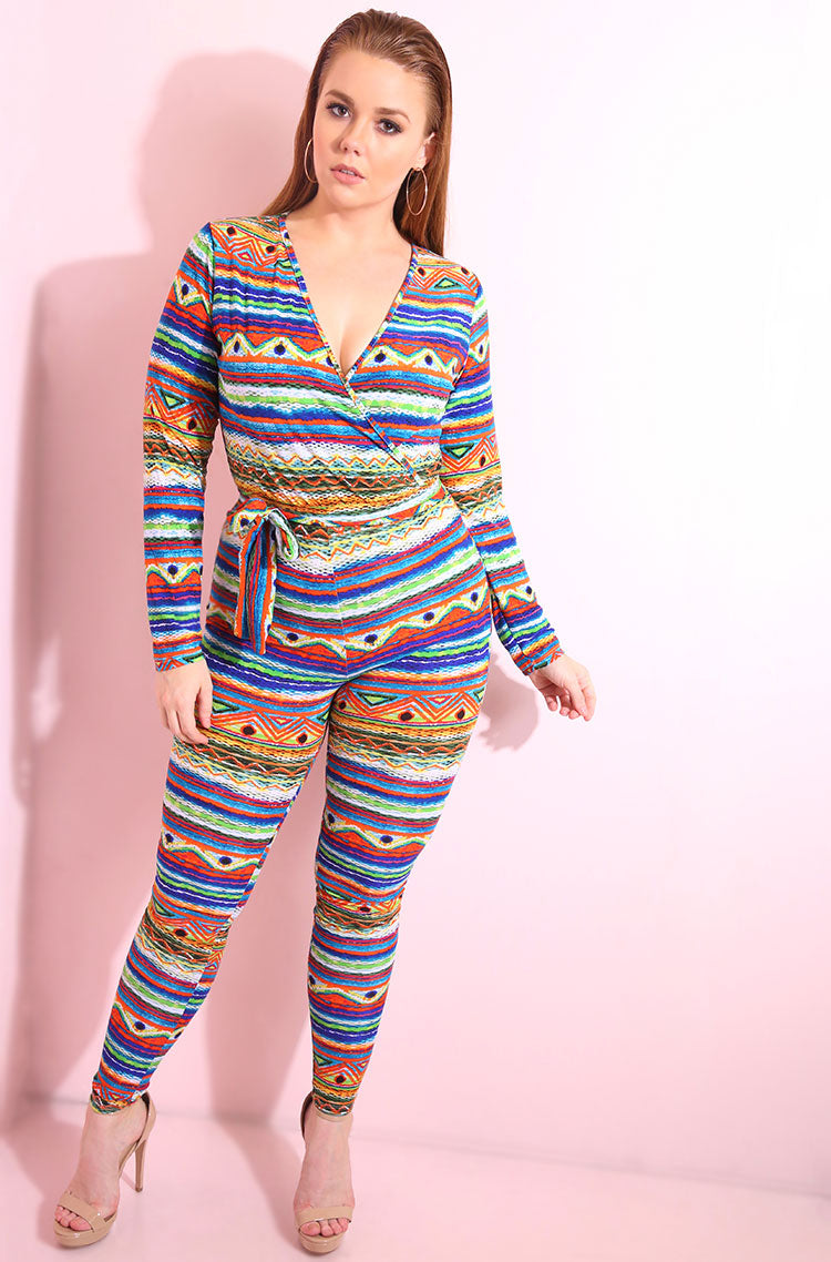 Crossover printed bodycon jumpsuit in bright print plus sizes