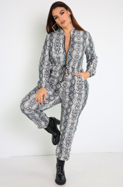 Gray Utility Style Snake Print Jumpsuit Plus Sizes