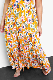 Mustard Floral V-Neck Skater Maxi Dress Plus Sizes