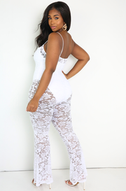White Lace Bell Bottom Jumpsuit Plus Sizes