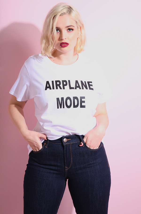 "Rebdolls ""Airplane Mode"" Crew Neck Short Sleeve T-Shirt"
