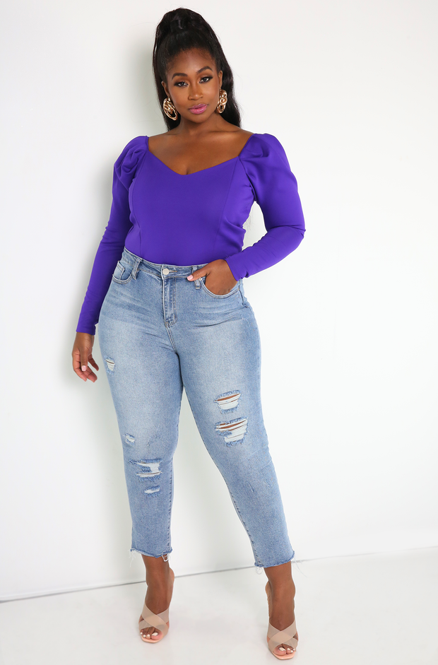 Purple Puff Sleeve Bodysuit Plus Sizes