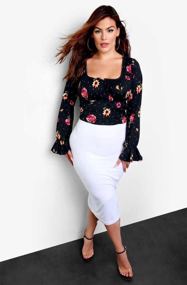 "Rebdolls ""A Little Too Late"" Long Sleeve Floral Peasant Top"