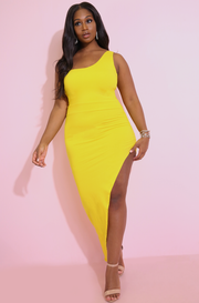 Yellow Asymmetrical One Shoulder Maxi Dress Plus Sizes