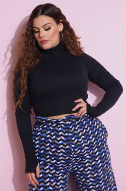 Black Thumbhole Turtleneck Crop Top Plus Sizes