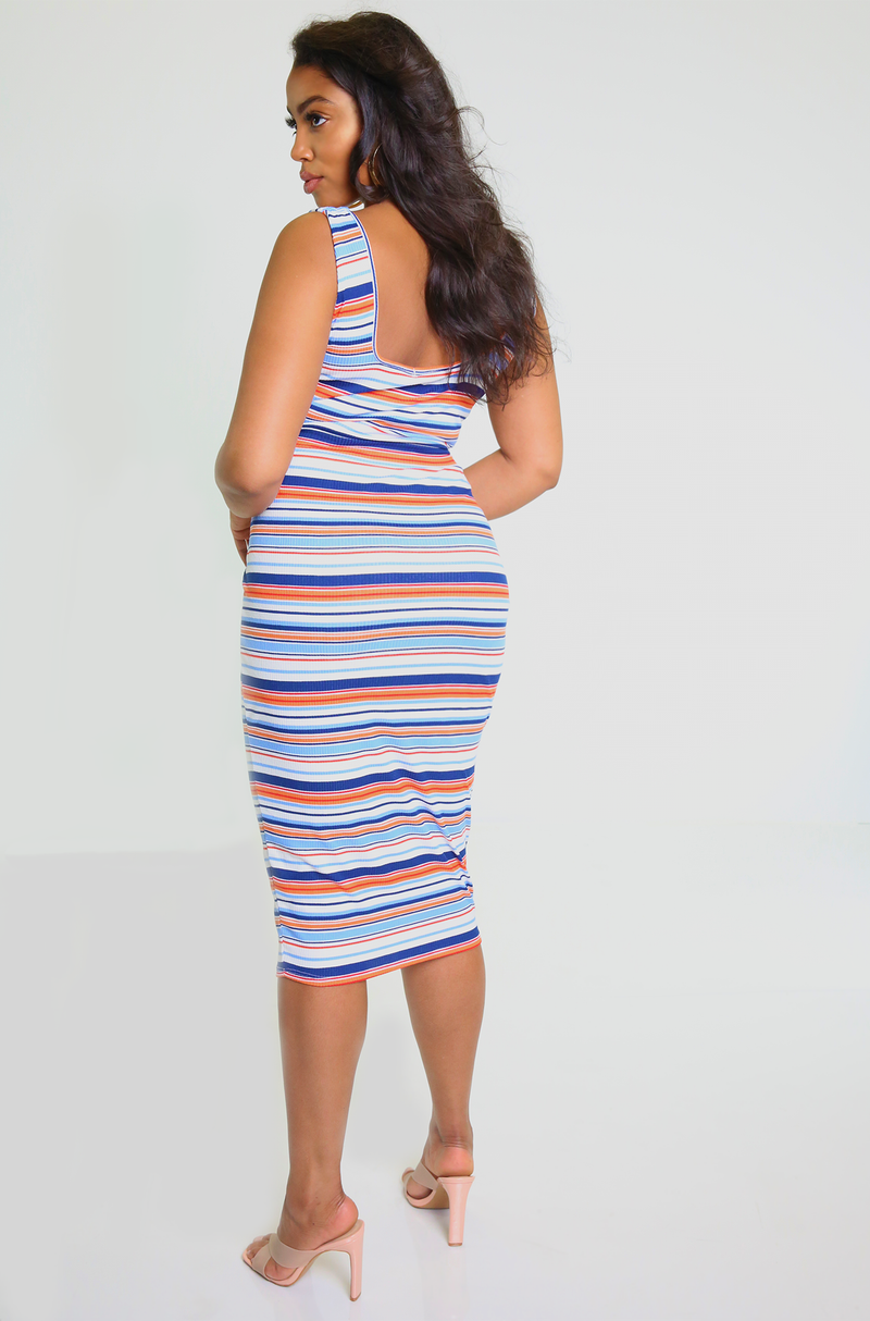 Blue Striped Squared Neckline Midi Dress Plus Sizes