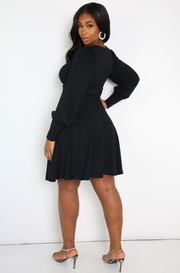 Black Puff Sleeve Skater Mini Dress With Pockets Plus Sizes