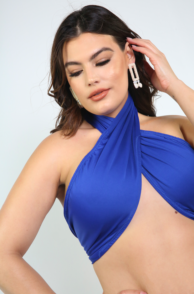 Royal Blue Wrap Around Swimsuit Top Plus Size