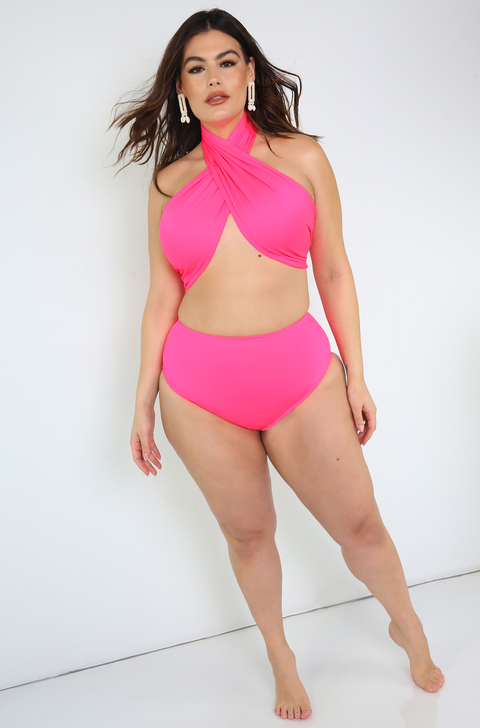 Neon Pink High Waisted Swimsuit Bottom Plus Sizes