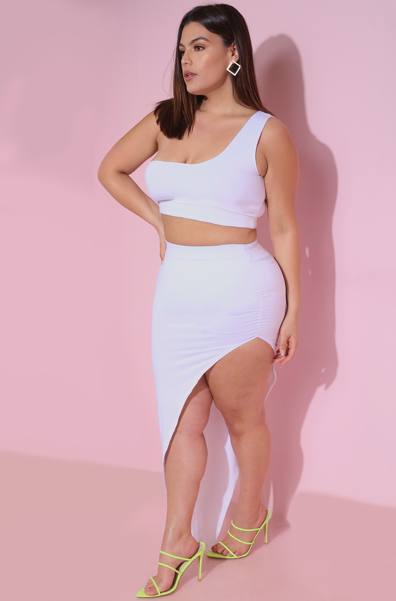 White Asymmetrical Ruched Bodycon Maxi Skirt