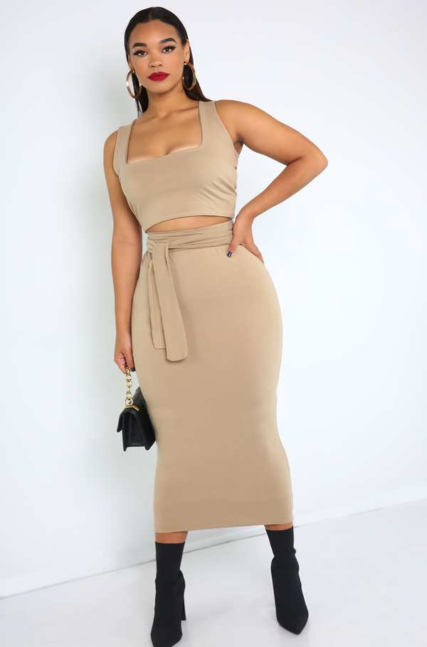 Nude Squared Neckline Crop Top Plus Sizes