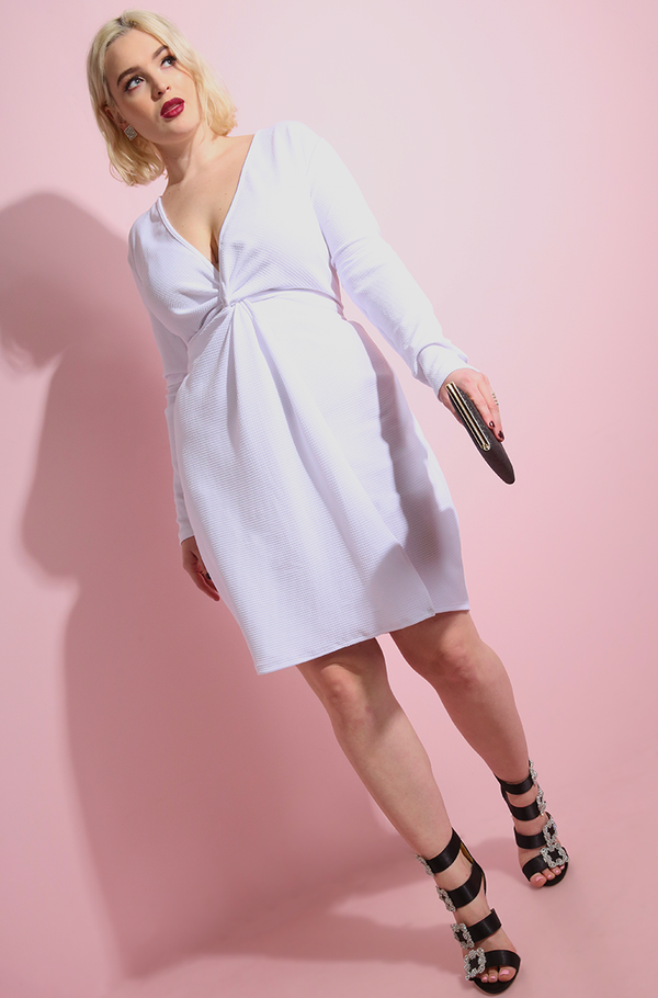 White deep plunge Peplum Mini Dress plus sizes