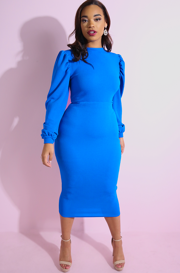 Blue Puff Sleeve Bodycon Midi Dress plus sizes