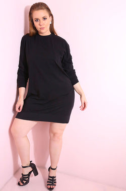 Black Ribbed T-Shirt dress with chest pocket plus sizes