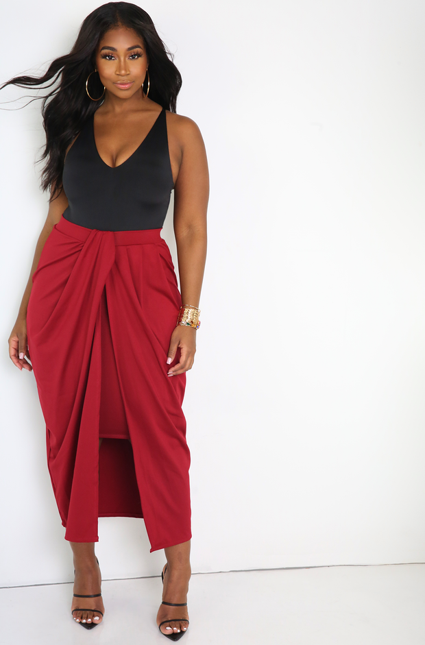 Burgundy Draped Maxi Skirt Plus Sizes