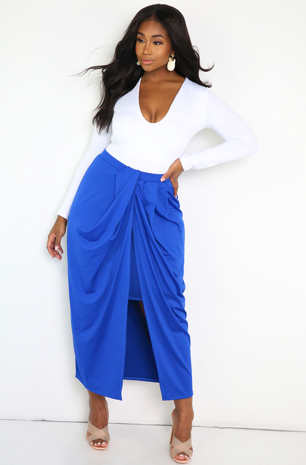 Royal Blue Draped Maxi Skirt Plus Sizes