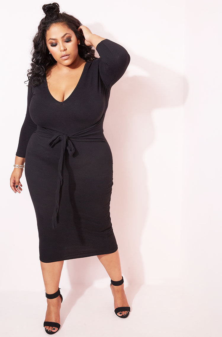 Black Waist Tie Detail Dress plus sizes