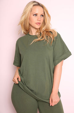Olive Oversized Top plus sizes