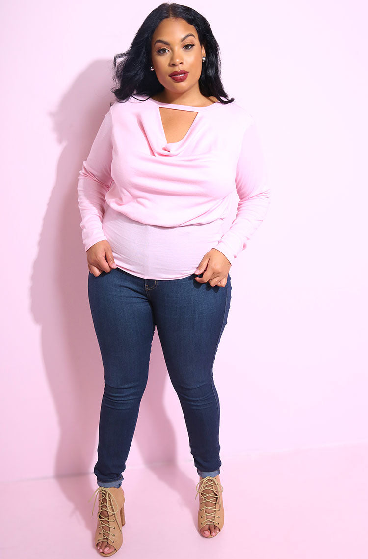 Pink Ribbed Cowl Neck Top plus sizes