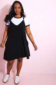 Oversized Strappy Shift Dress With Pockets Plus Sizes