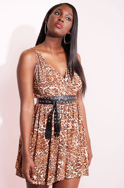 Brown Skater Mini Dress plus sizes
