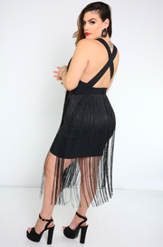 Black Fringe Cross Back Bandage Mini Dress Plus Sizes