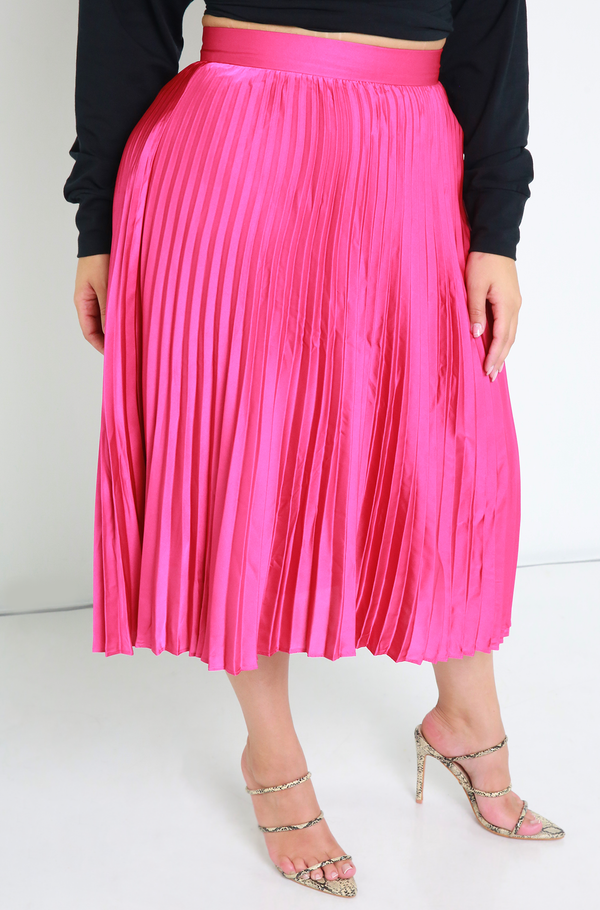 Hot Pink Satin Skater Skirt Plus Sizes