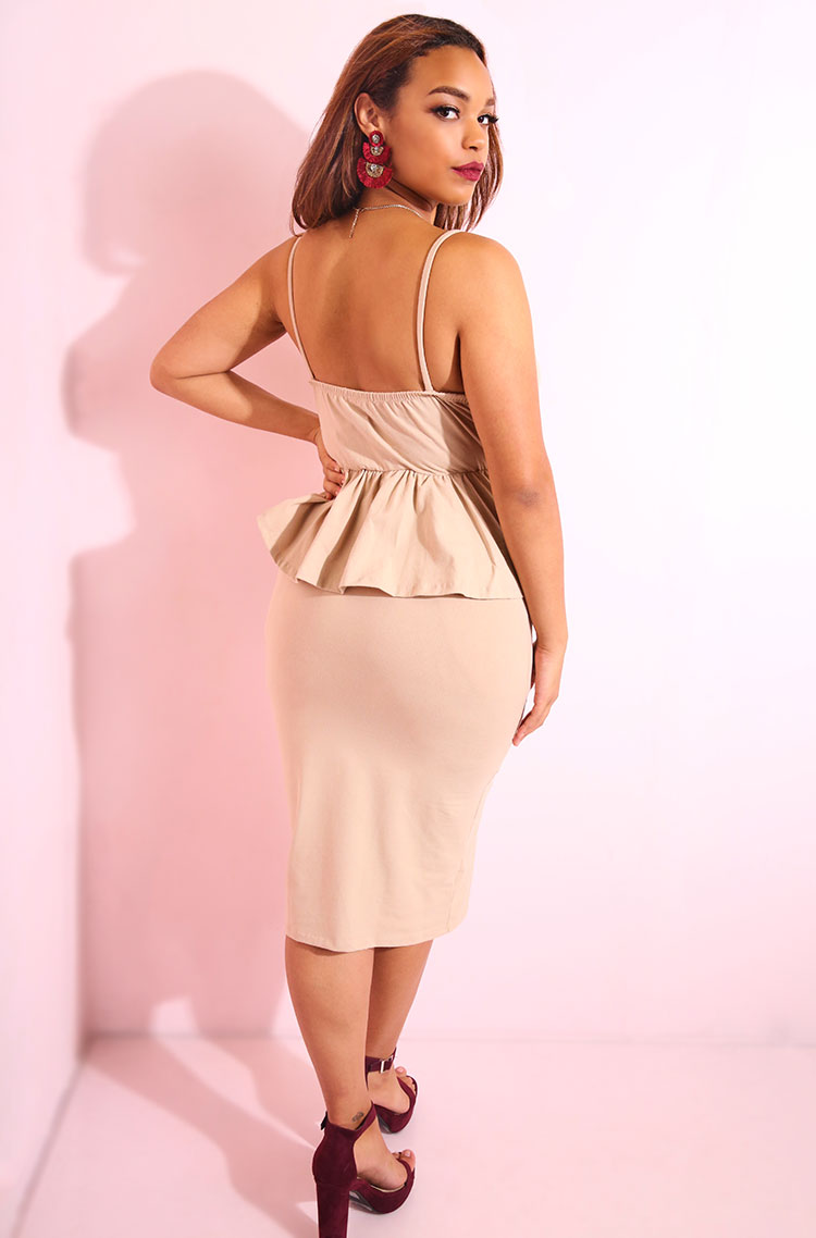 Nude Cowl Neck Peplum Bodycon Midi Dress plus sizes