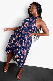 Navy Blue High Neck Sleeveless Skater Midi Dress Plus Sizes