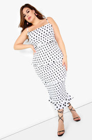 White Polka Dot Smocked Midi Dress Plus Sizes