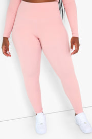 Dusty Pink High Waist Leggings Plus Sizes