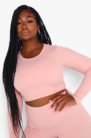 Dusty Pink Long Sleeve Crew Neck Sports Crop Top Plus Sizes