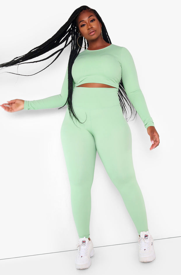 "Rebdolls ""All In"" High Waist Leggings - Sage"
