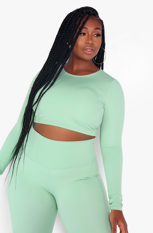 Sage Long Sleeve Crew Neck Sports Crop Top Plus Sizes