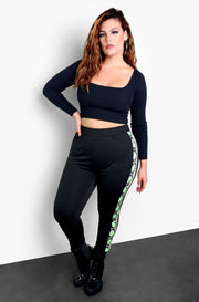 Black Snake Print Detail Leggings Plus Sizes
