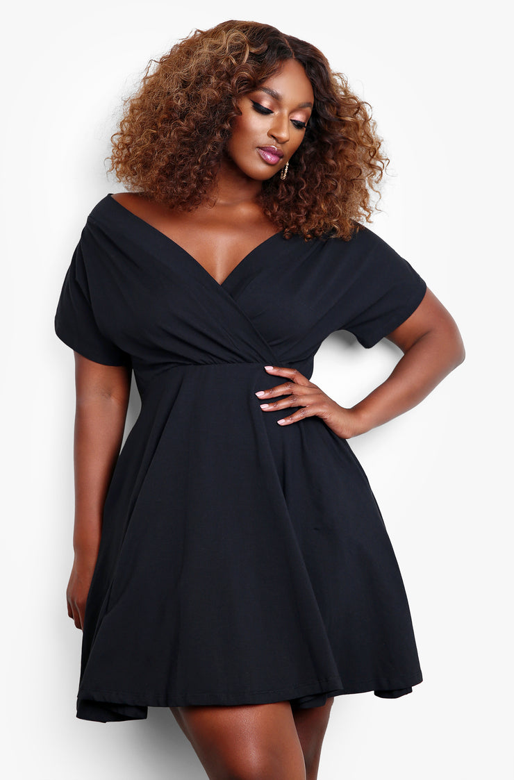 Black Over The Shoulder Skater Mini Dress With Pockets Plus Sizes