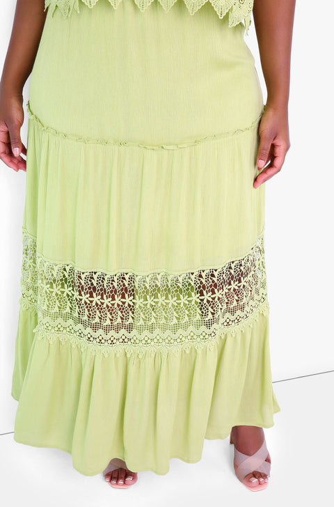 Green Ruffle Sleeveless Maxi Dress Plus Sizes
