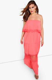 Pink Ruffle Sleeveless Maxi Dress Plus Sizes