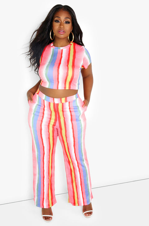 Pink Striped Wide Leg Pants Plus Sizes
