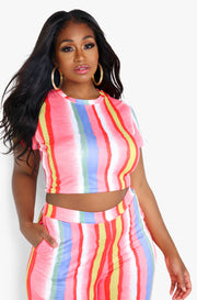 Pink Striped T-Shirt Crop Top Plus Sizes