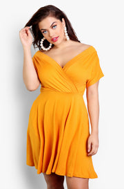 Tangerine Over The Shoulder Skater Mini Dress With Pockets Plus Sizes