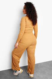 Mustard High Waist Wide Leg Pants Plus Sizes