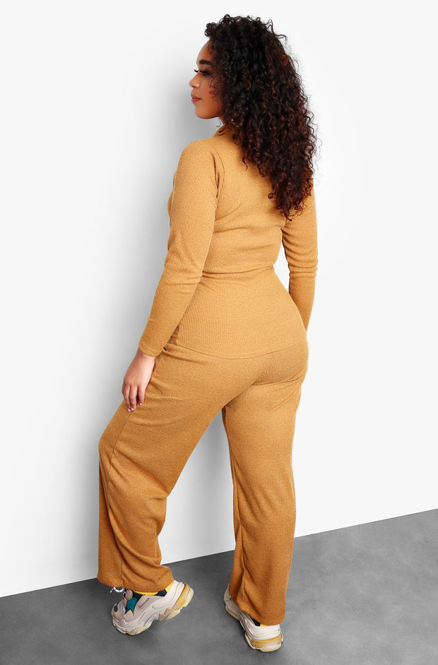 Mustard Ribbed Long Sleeve Top Plus Sizes