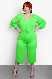 Lime Green Wide Leg Lounge Jumpsuit Plus Sizes